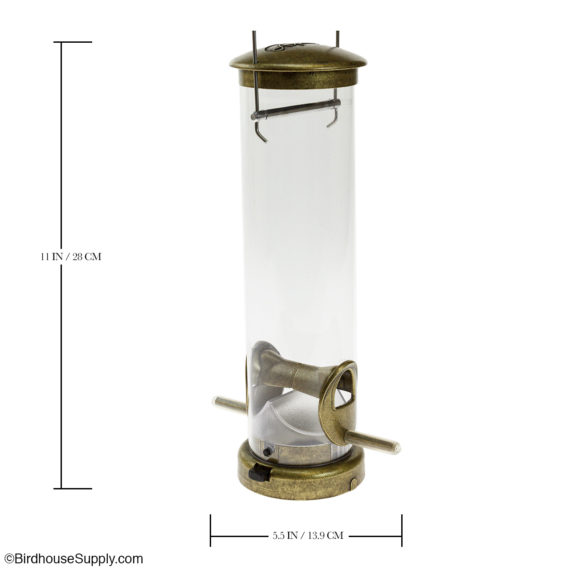 Aspects Antique Brass Tube Feeder with Quick Clean Base